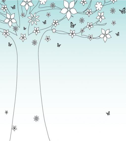 Fototapete Schmetterlinge und ein Baum EV1365