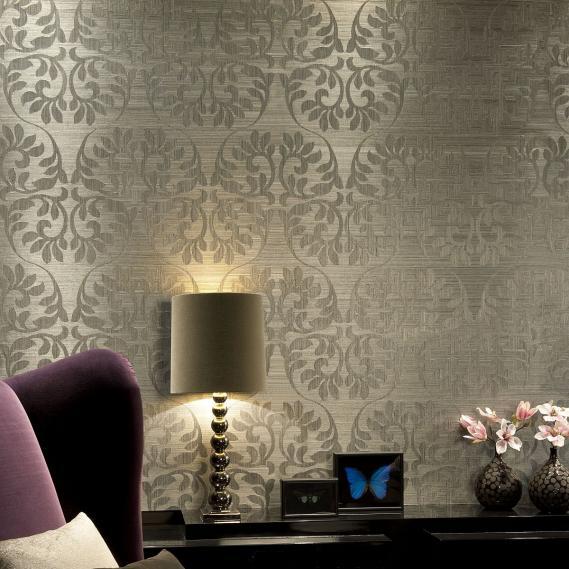 hochwertige tapeten und stoffe vlies sisal tapete leaf silber grau 49052 kollektion heliodor. Black Bedroom Furniture Sets. Home Design Ideas