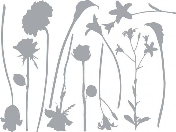 sticker with flowers silhouettes  350-0178