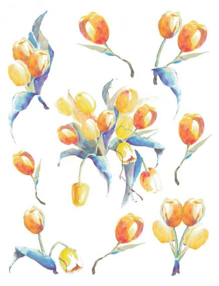 sticker with yellow tulips 350-0186