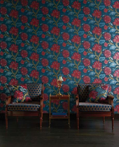 hochwertige tapeten und stoffe dekostoff nina campbell coromandel ncf4243 01 decowunder. Black Bedroom Furniture Sets. Home Design Ideas