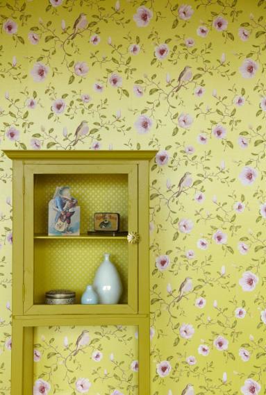 hochwertige tapeten und stoffe vliestapete v gel blumen gelb 310012 un bisou eijffinger. Black Bedroom Furniture Sets. Home Design Ideas