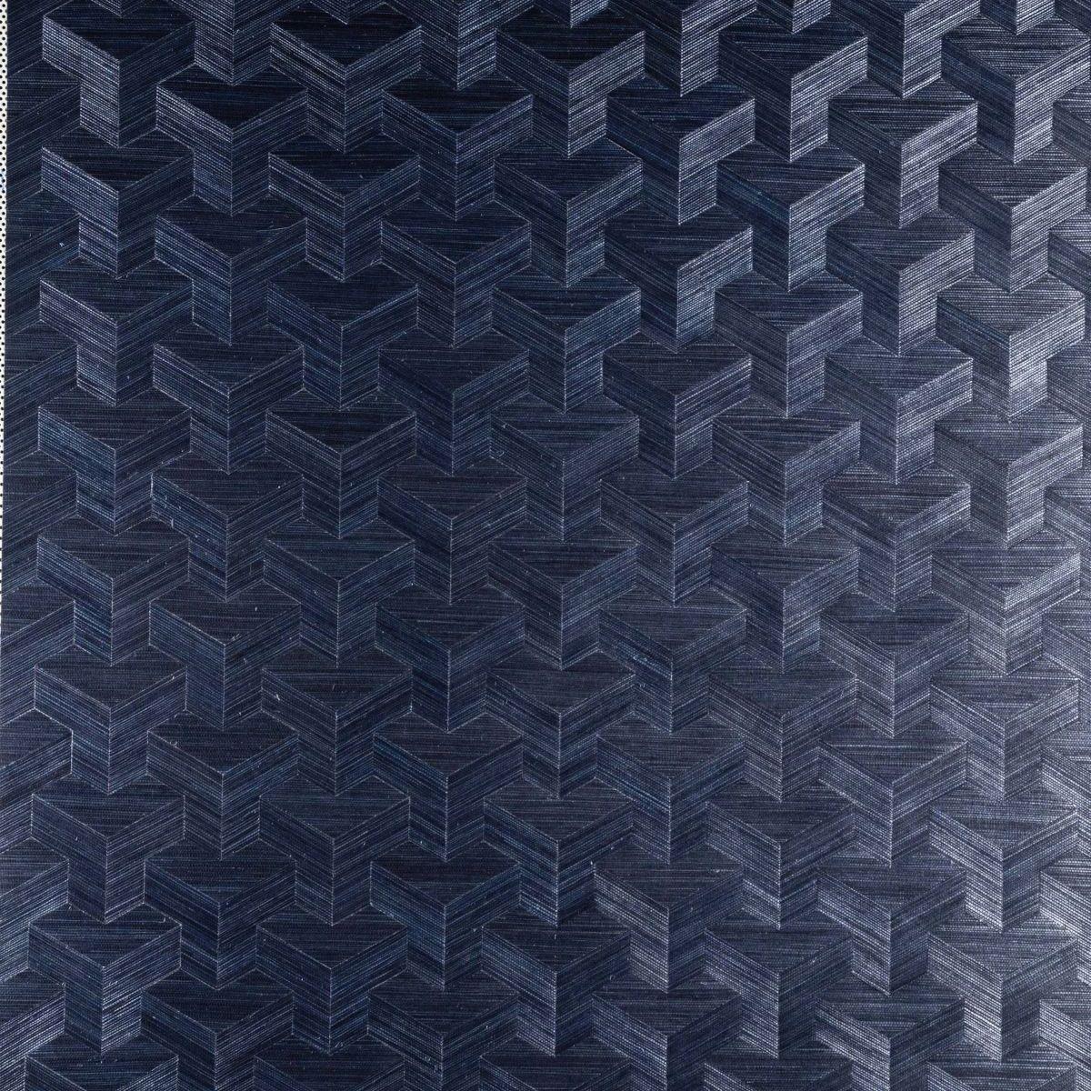 Muster Tapete Dunkelblau : Decowunder Tapeten Vlies Sisal Tapete Cube Dunkelblau 49002