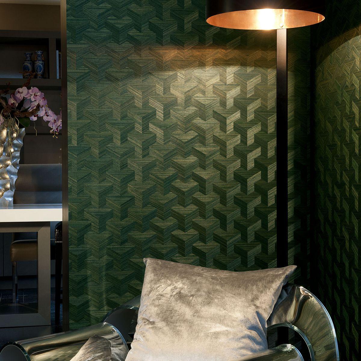 vlies sisal tapete cube gr n 49003 kollektion heliodor. Black Bedroom Furniture Sets. Home Design Ideas