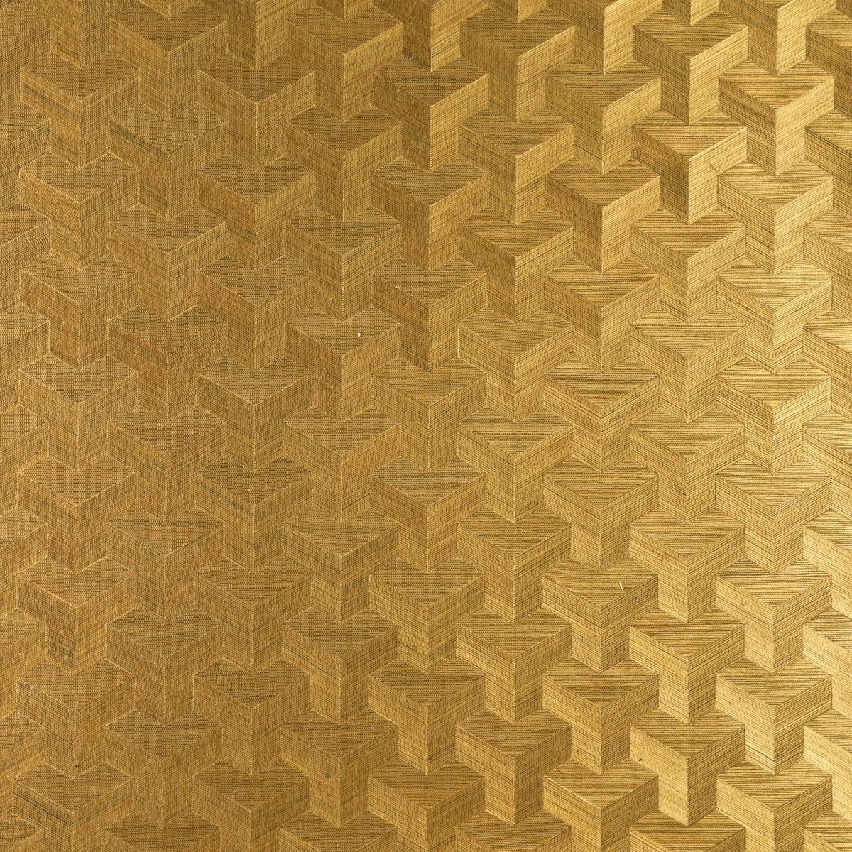 Decowunder Tapeten Vlies Sisal Tapete Cube Gold 49004 ...
