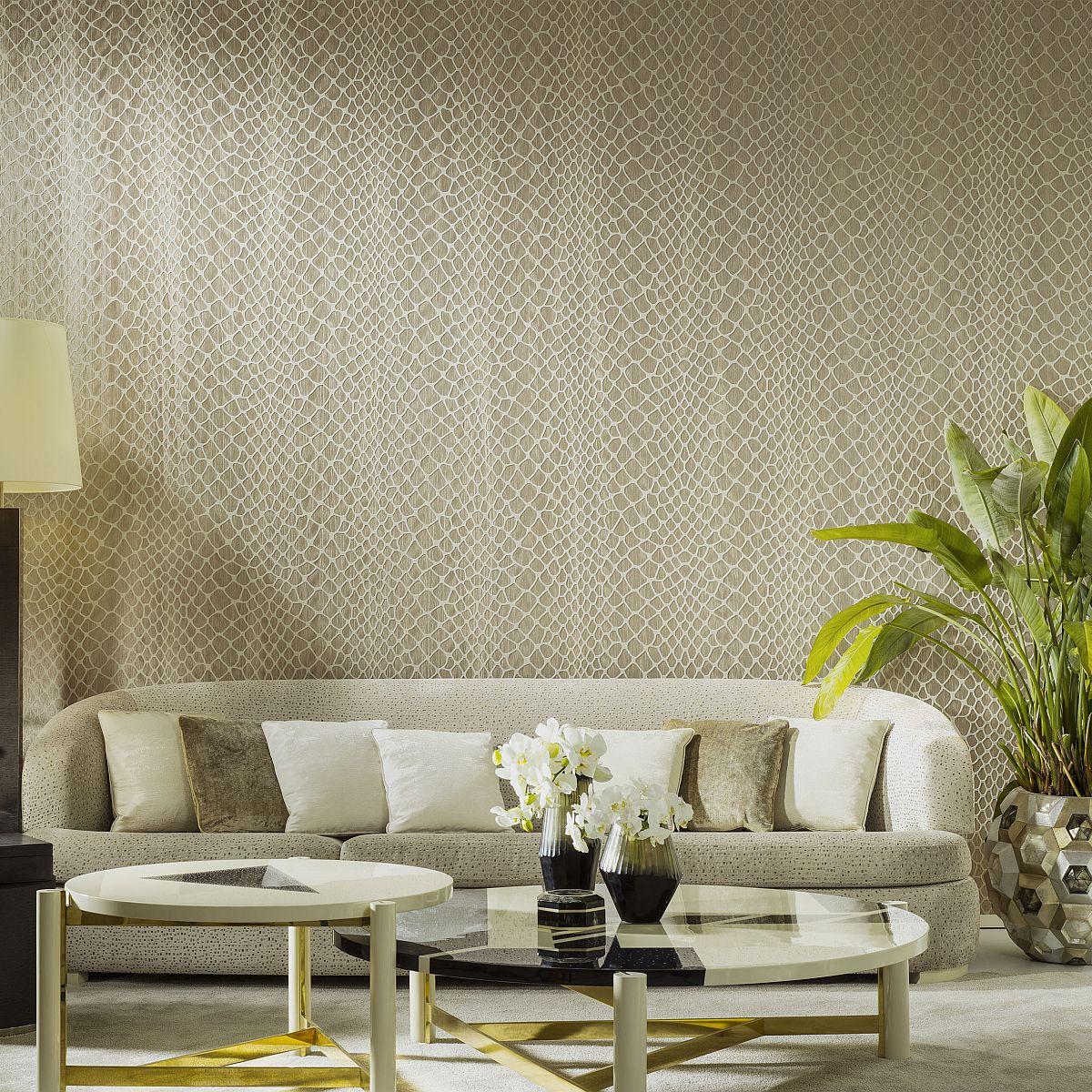 hochwertige tapeten und stoffe tapete mit plisseestoff und velours amazone 2 23580 decowunder. Black Bedroom Furniture Sets. Home Design Ideas