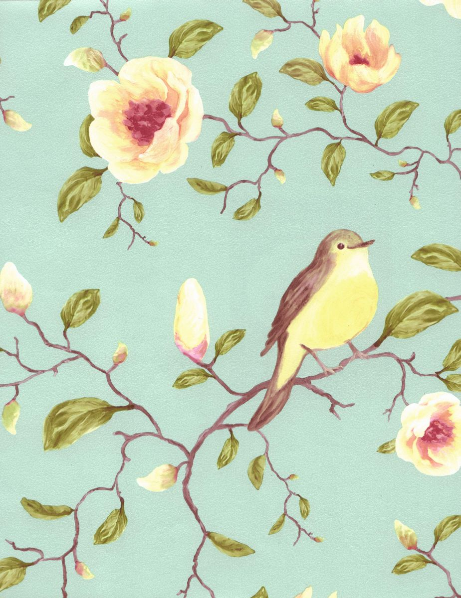 Designer kitchen curtains - High Quality Wallpapers And Fabrics Non Woven Wallpaper Birds